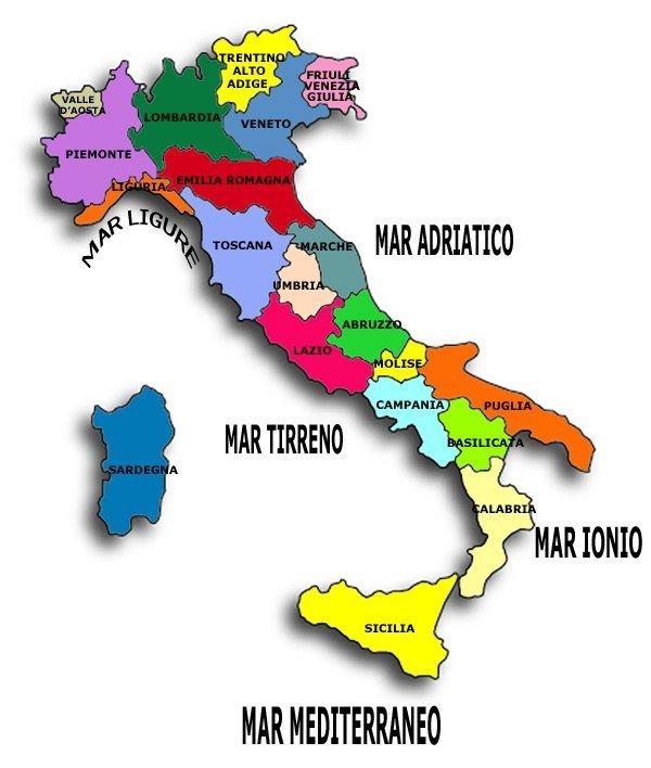 cartina regioni italiane